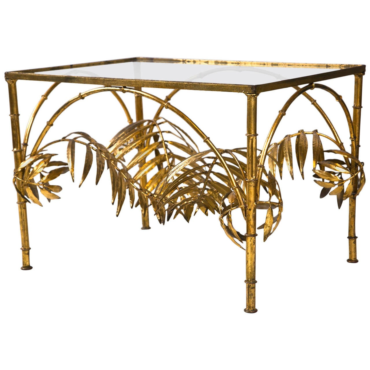 Gilt Faux Bamboo And Palm Leaf Cocktail Table At 1stdibs