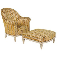 French Lounge Chair and Ottoman