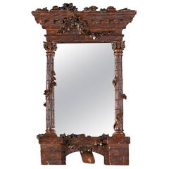 19th Century Romantic Period Carved Walnut Mirror