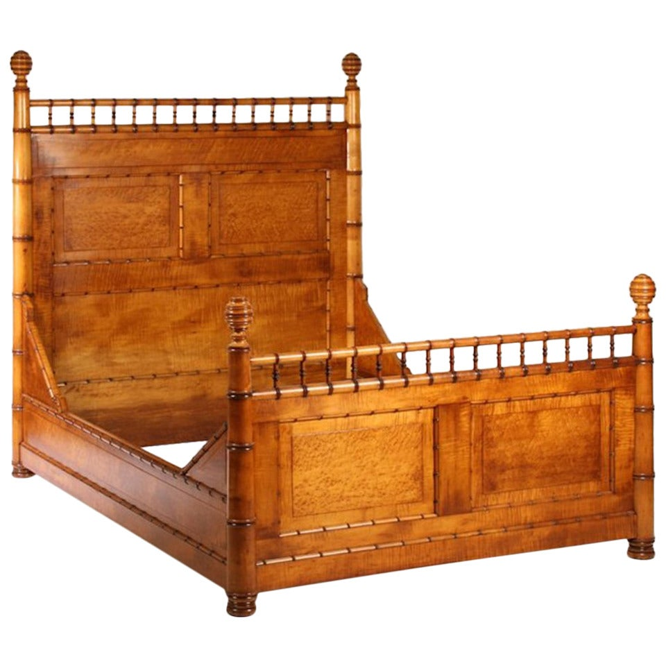 19th Century Faux Bamboo Bed For Sale