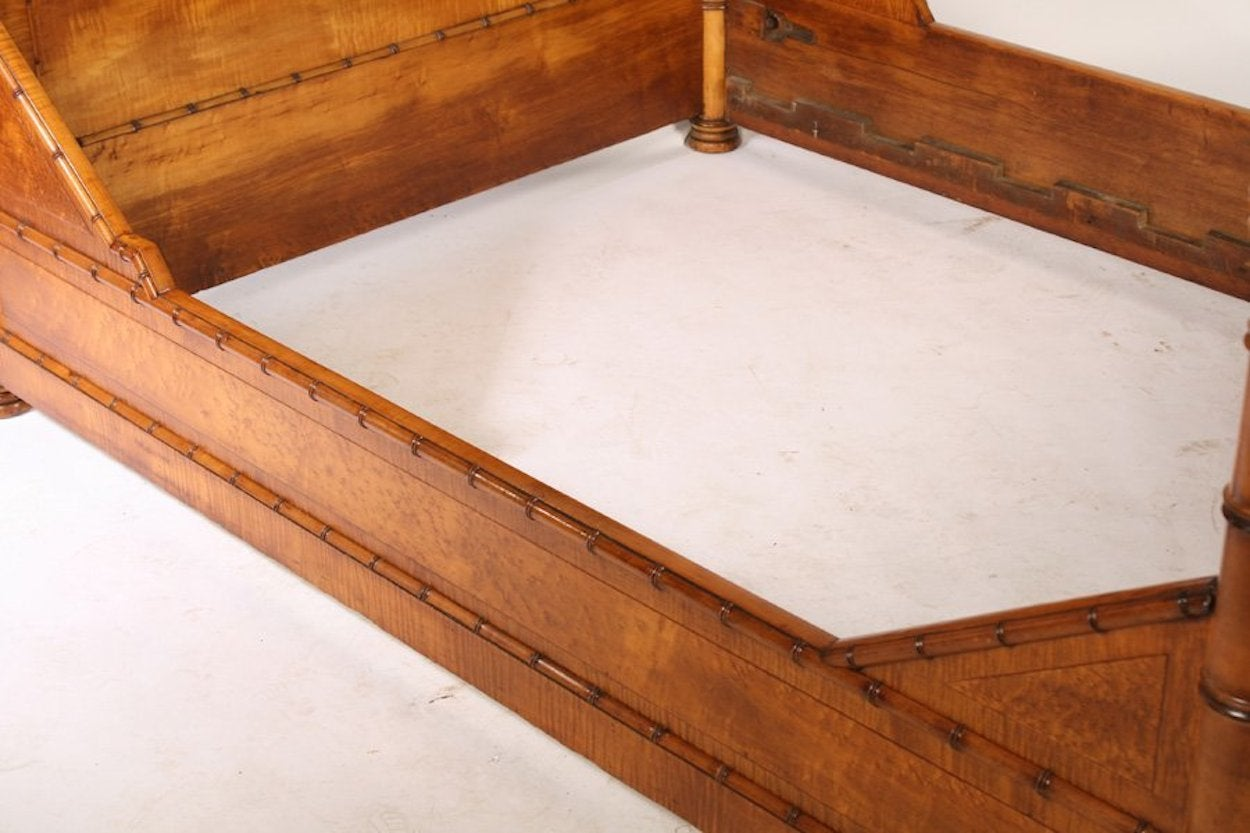 American 19th Century Faux Bamboo Bed For Sale