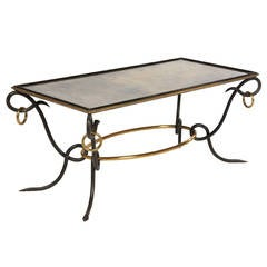 René Drouet Iron and Brass Cocktail Table, France, circa 1940