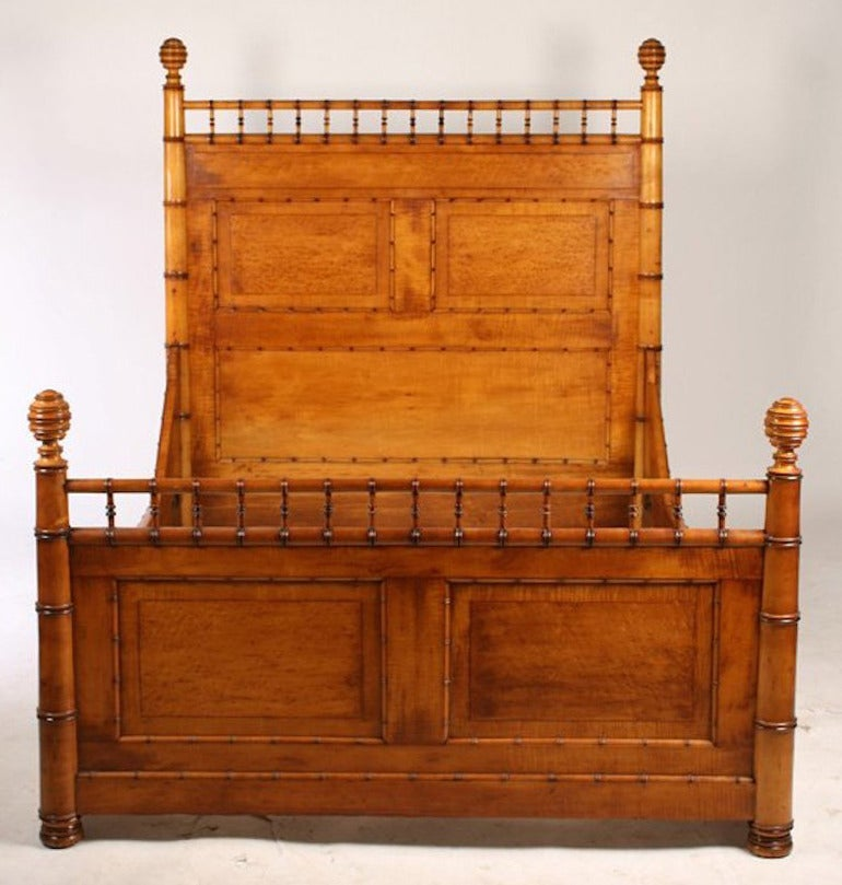 Maple and bird's-eye maple (Aesthetic Movement) faux bamboo bed, New York City, circa 1885. Fits standard full size mattress.  Note: Martha Stewart owns a similar bed, and this 19th century style inspired Bunny Williams' own line of furniture.