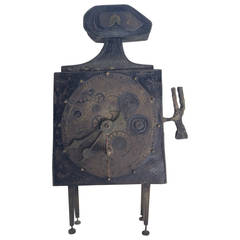 Lorenzo Burchiellaro Figural Table Clock Sculpture, Italy, 1960s