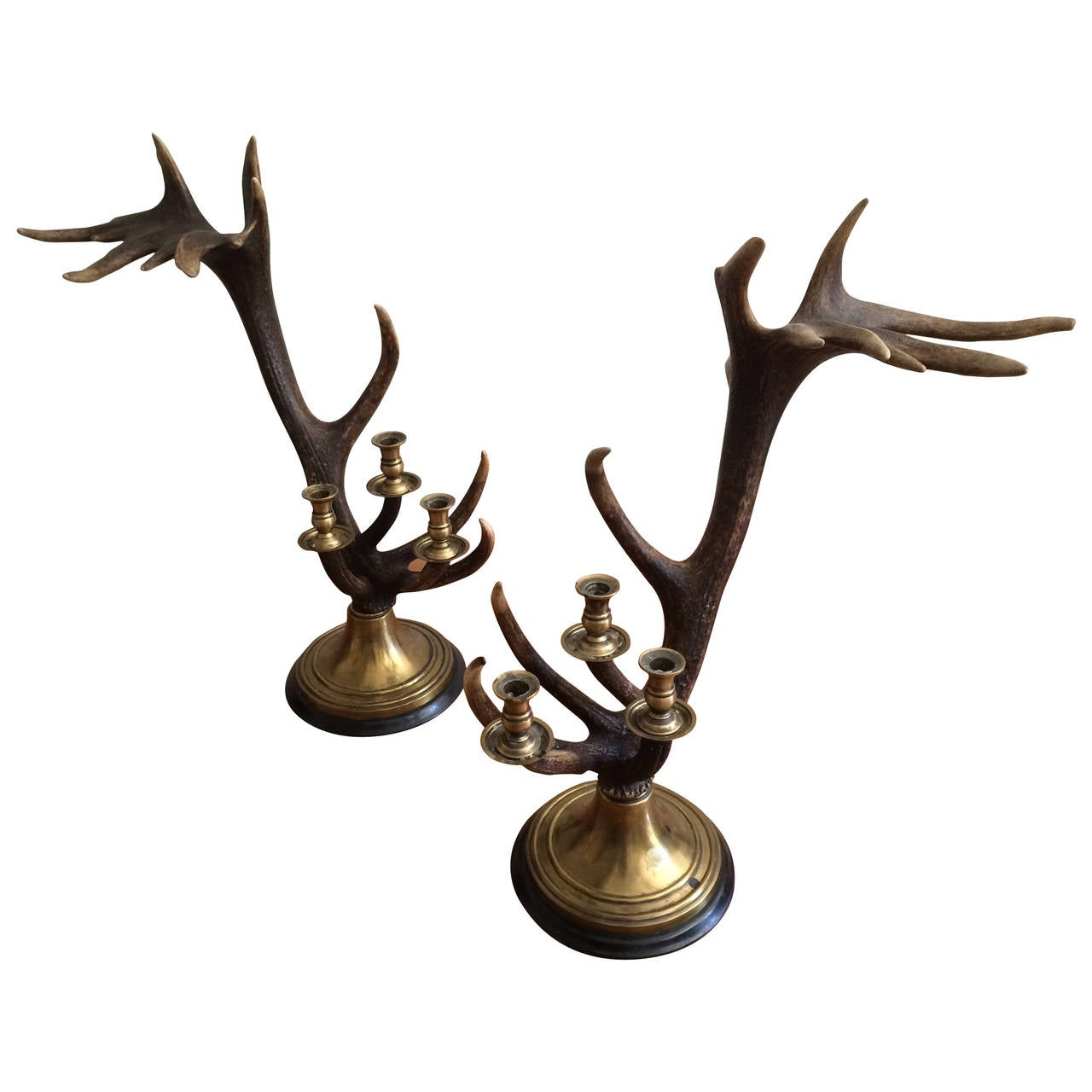 Large Pair Of Anthony Redmile Antler Candlesticks For Sale