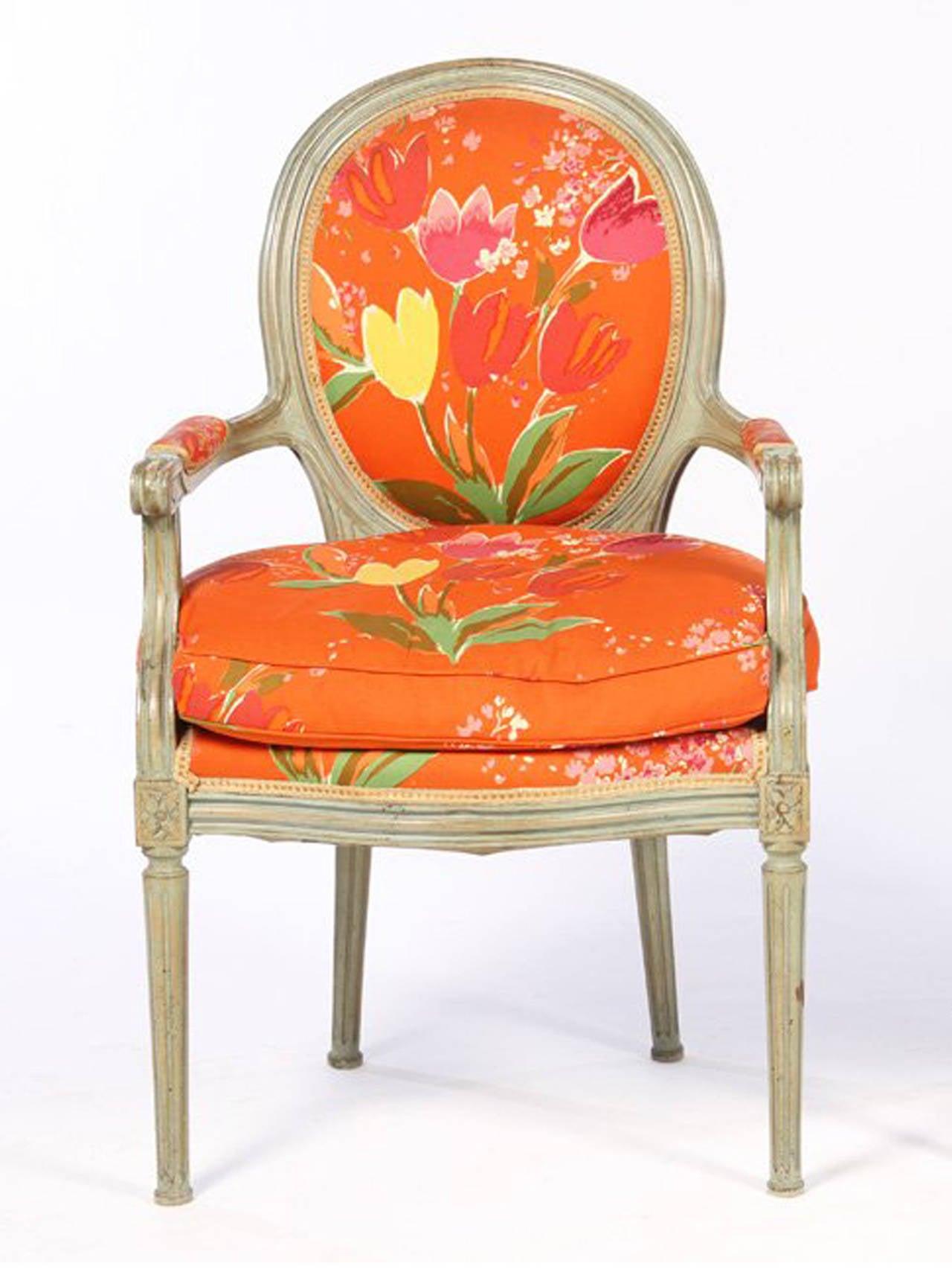 Pair Of Louis Xvi Style Fauteuils Paule Marrot Fabric