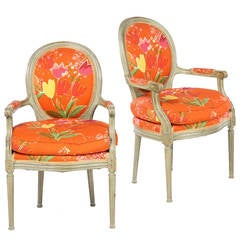 Pair of Louis XVI Style Fauteuils, Paule Marrot Fabric, Les Tulipes