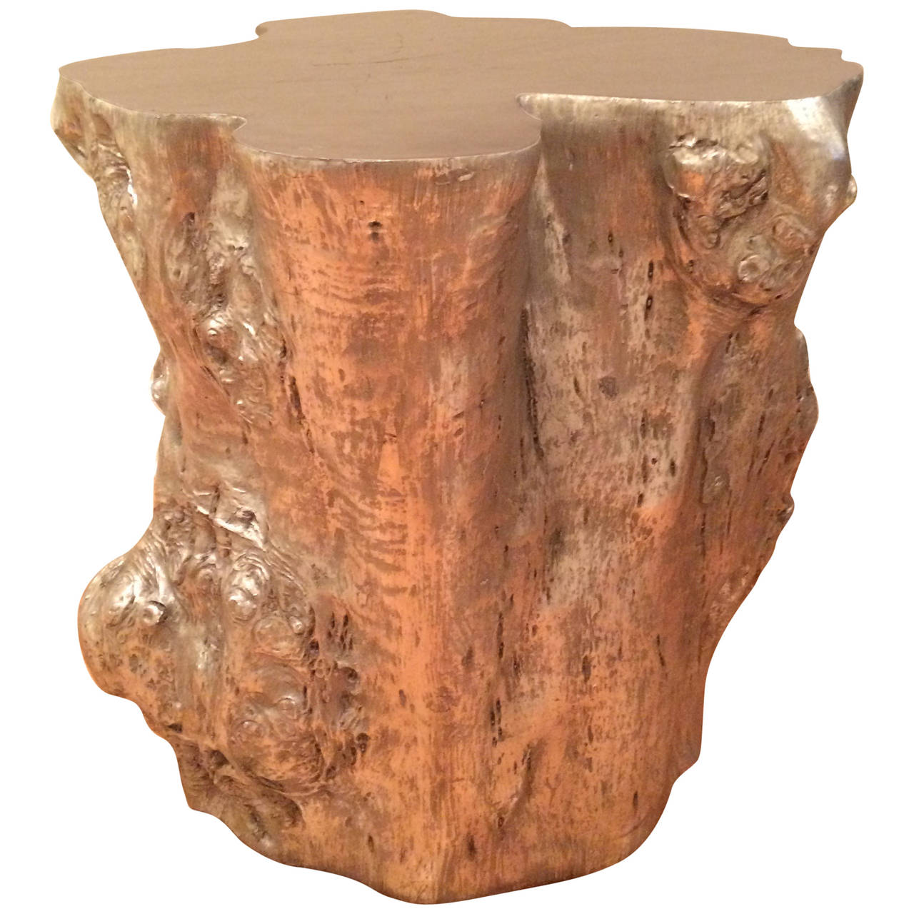 Tree stump side table - Contemporary Silvered Resin Tree Trunk Form Side Table 1