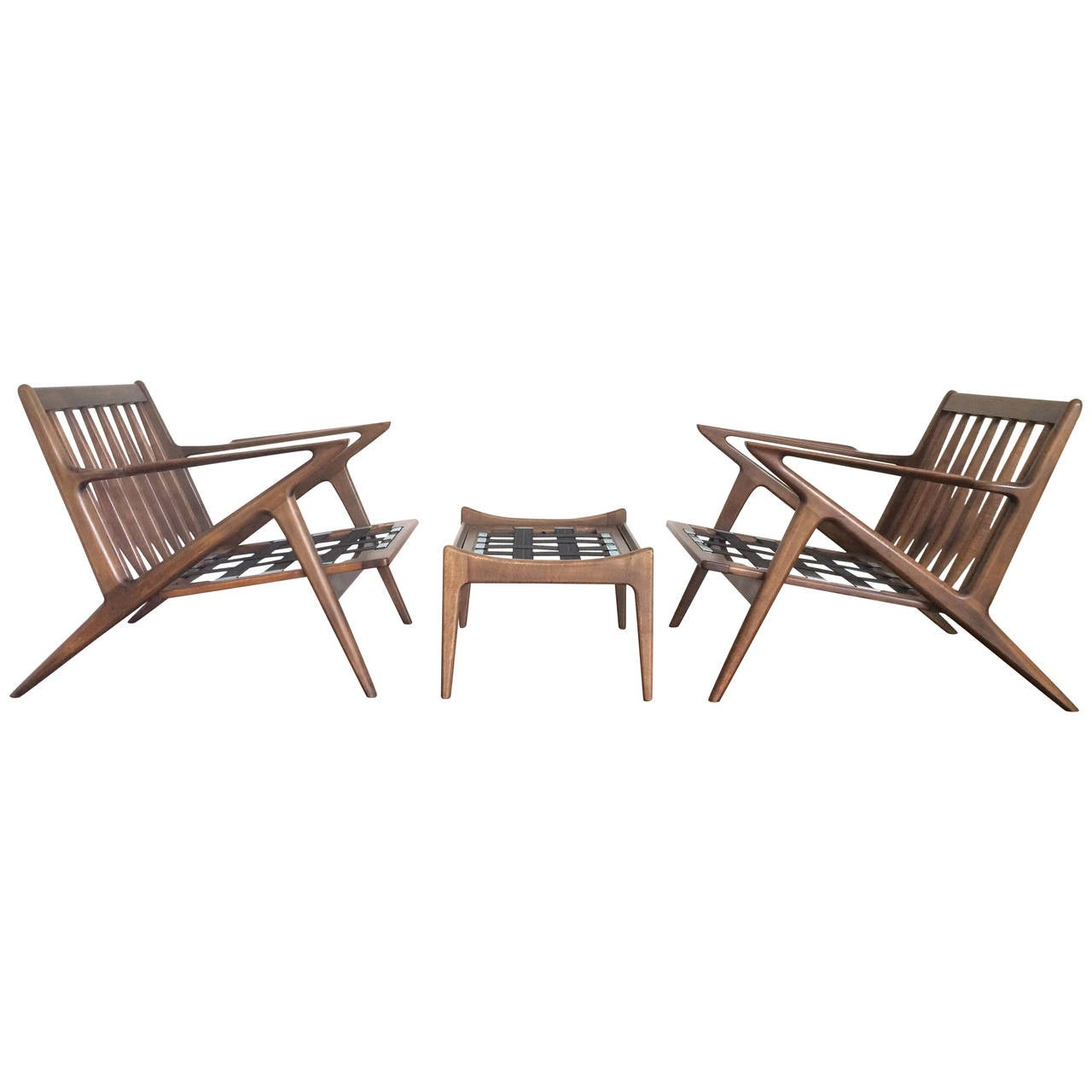 Pair of poul jensen z lounge chairs and ottoman at 1stdibs for Poul jensen z chair