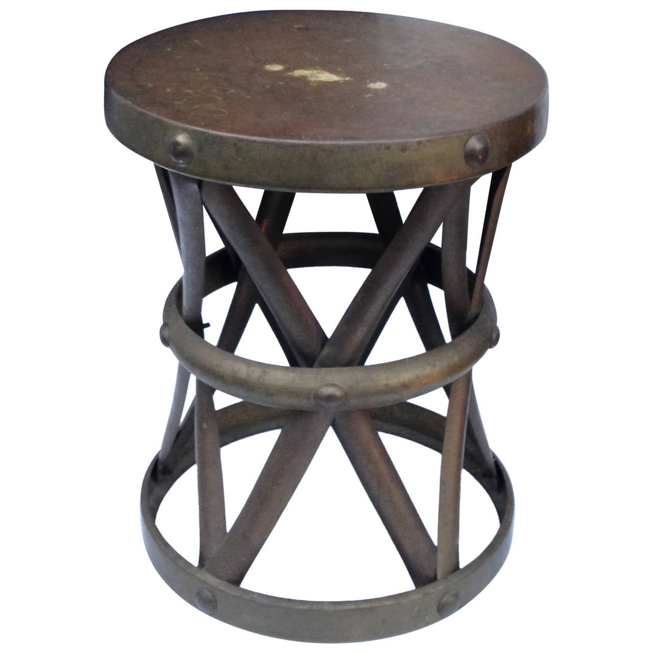 Brass drum style side table at 1stdibs for Drum side table