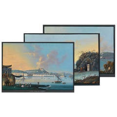 A Set of 3 Anonymous Early 19th C. Landscape Gouaches of the Gulf of Naples