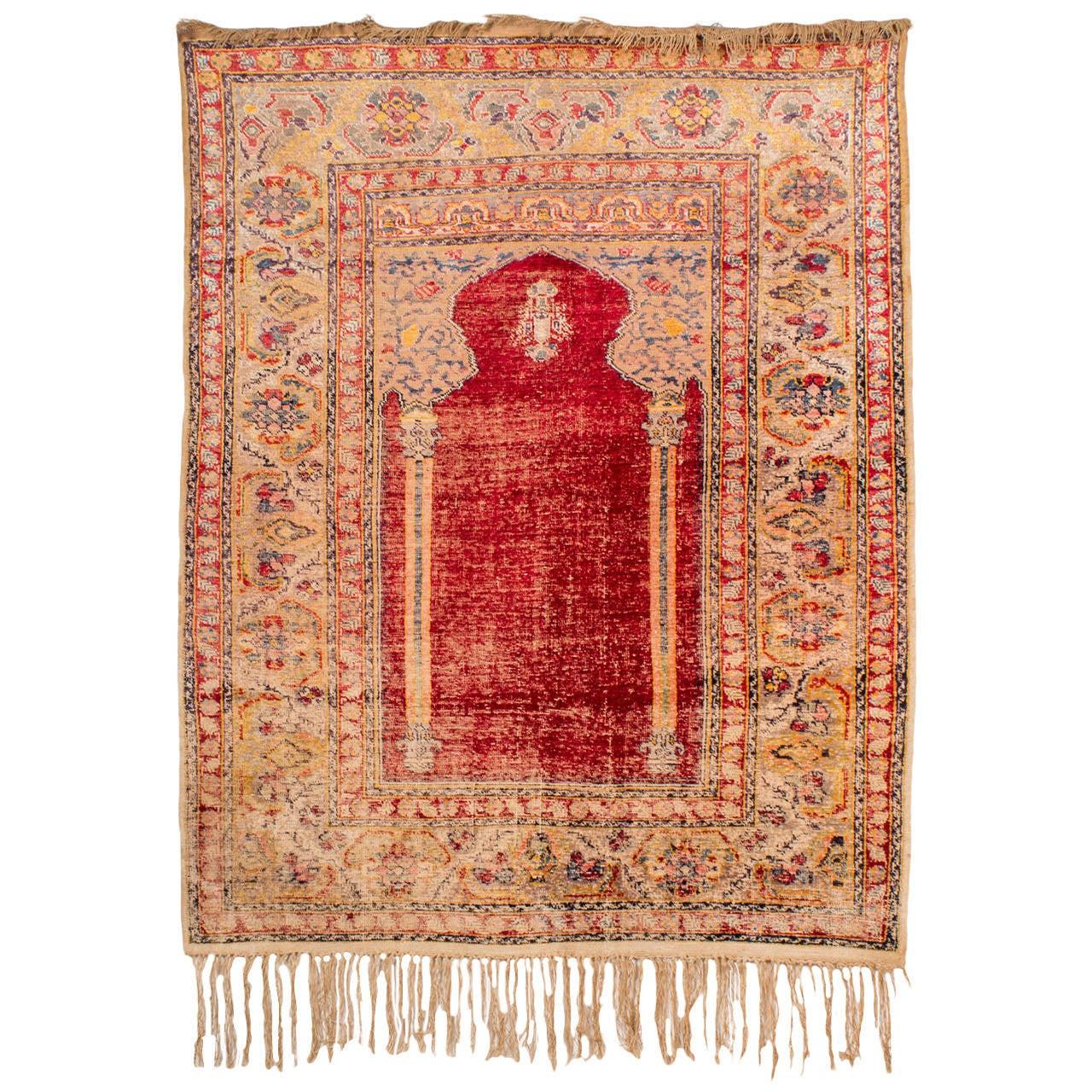 Antique Turkish Ghiordes Silk Prayer Rug, 19th Century At