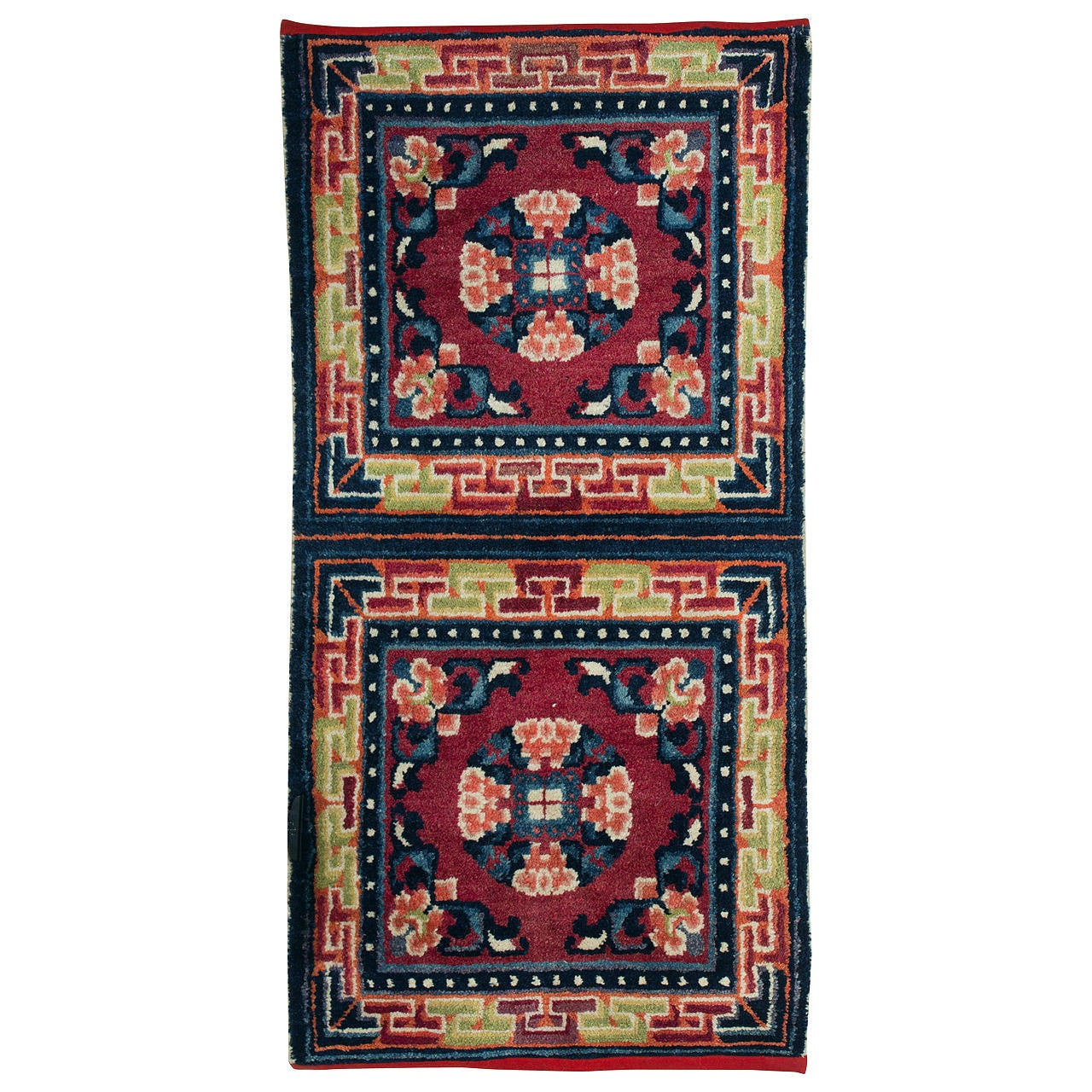 Antique Tibetan Rug: Antique Tibetan Ning Hsia (Ningxia, Ninghsia) Double Monk