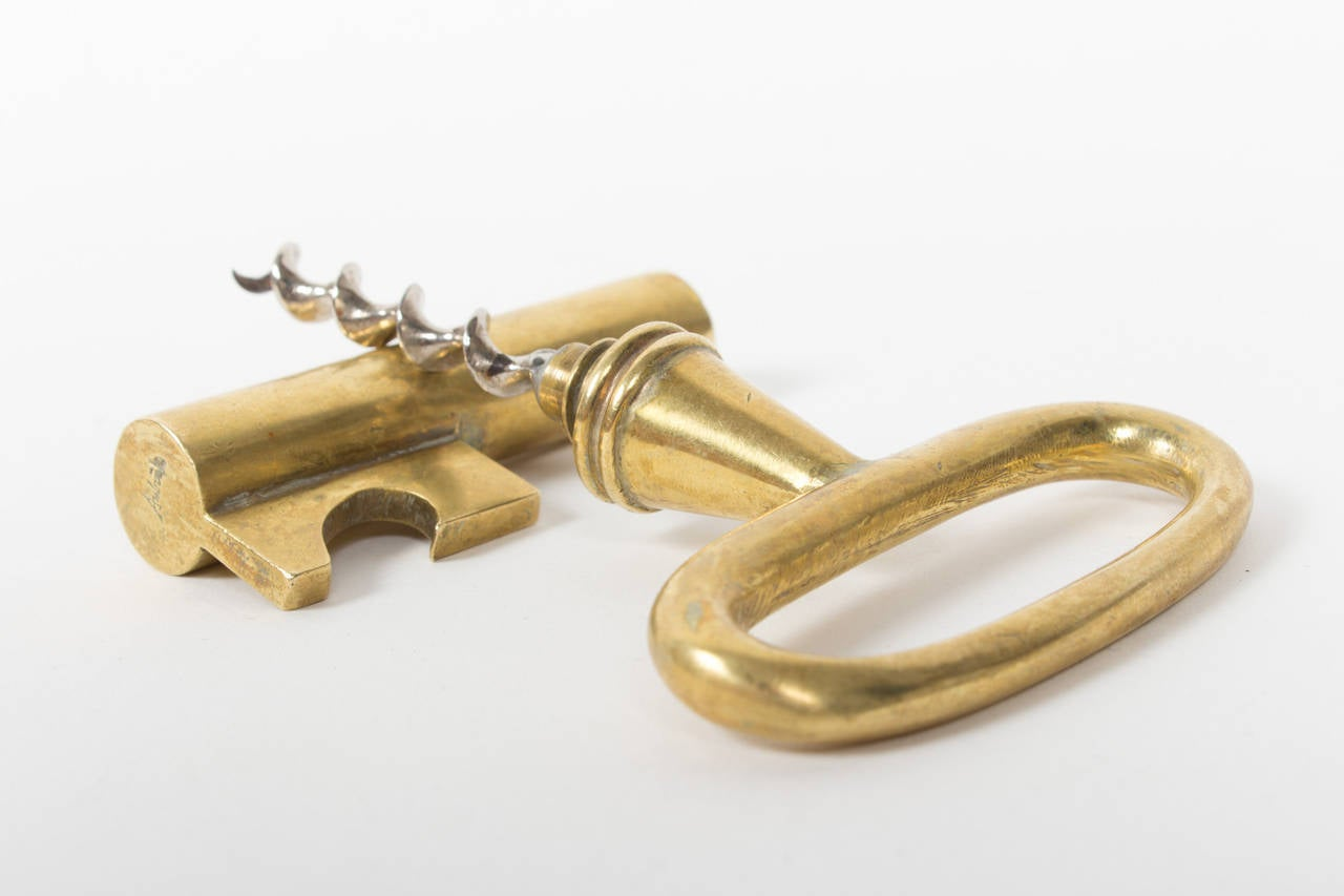 Mid-20th Century Large Marked Mint Auböck Bottle Opener with Hidden Corkscrew For Sale