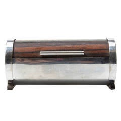 Rare Cylindrical Nickel Plated Cigarette Dispenser by Carl Auböck