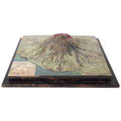 Rare 19th Century Geomorphical Relief Map of Mount Vesuvius