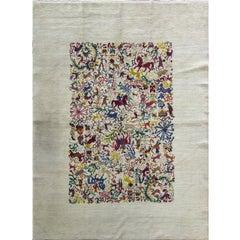 """Olga Fisch Carpet """"Caceria 'The Hunt'"""" Hungary/Ecuador, circa 1950"""
