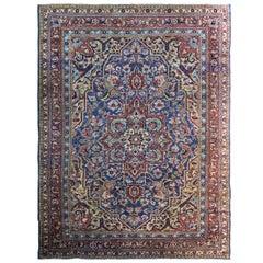 """Antique Persian Heriz Carpet, Blue Color, 8'5"""" x 11'"""