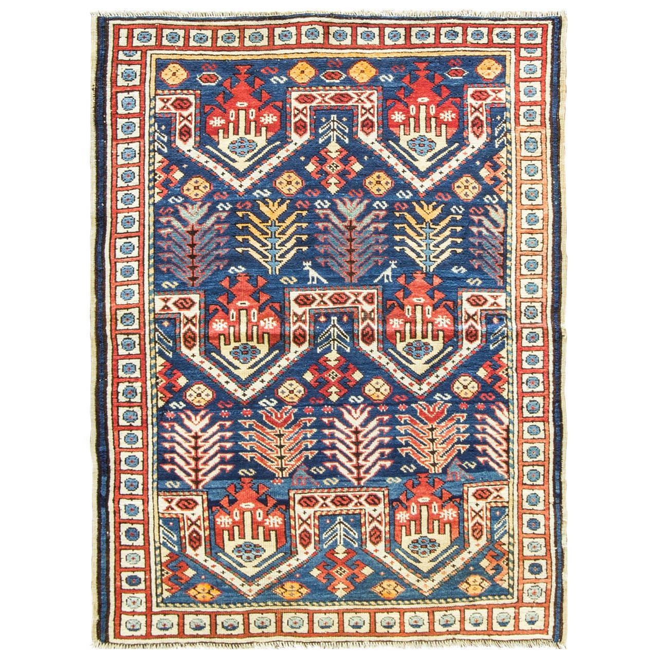Prayer Rug Types: Kazak Rug, Prayer Design At 1stdibs