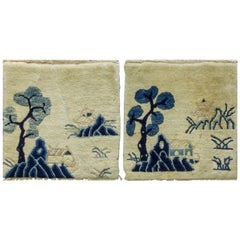 Antique Chinese art Deco/Peking Rugs, A Pair, Free Shipping
