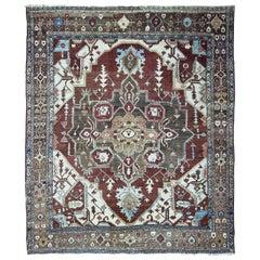 "Antique Serapi Carpet, Persia, Circa 1910-1920,  9'3"" x 11"""