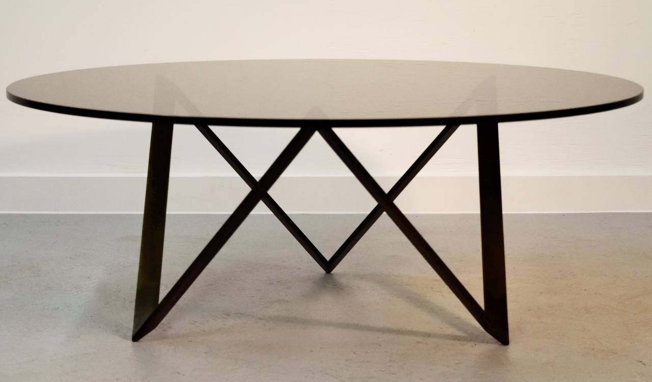 Roger Sprunger For Dunbar Bronze And Glass Coffee Table At 1stdibs