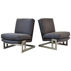 Pair of Chrome Framed Milo Baughman Lounge Chairs
