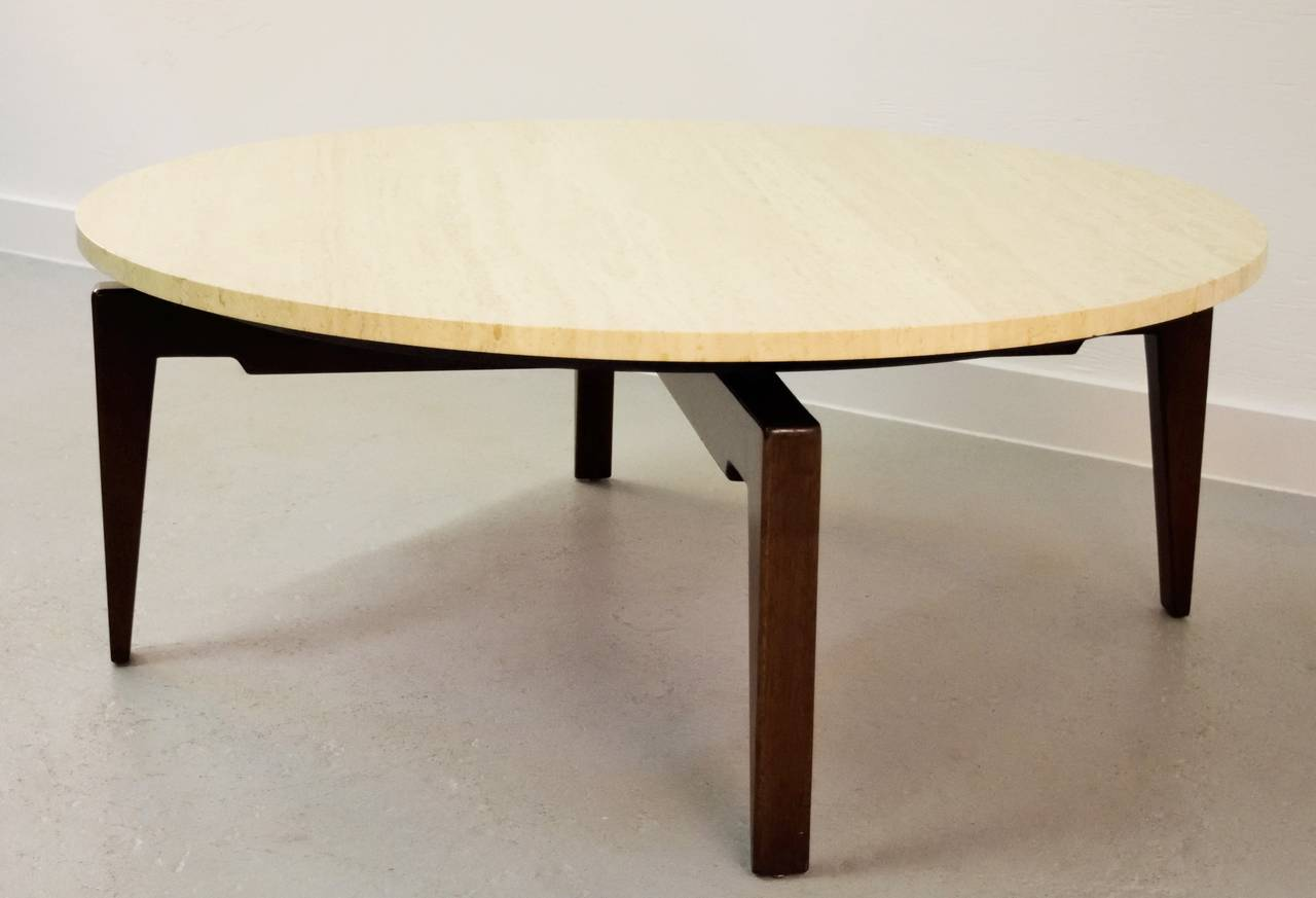 Jens Risom Walnut And Travertine Revolving Top Coffee Table At 1stdibs