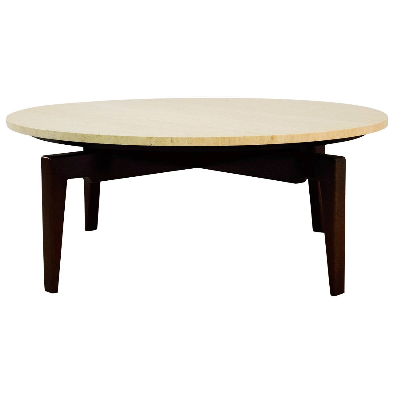 Jens risom walnut and travertine revolving top coffee for Revolving end table
