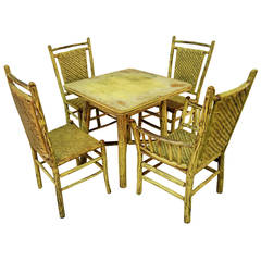 Signed Old Hickory Game Table and Four Chairs