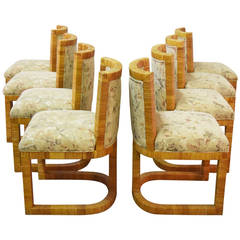 Set of Eight Cane Wrapped Barrel Back Dining Chairs