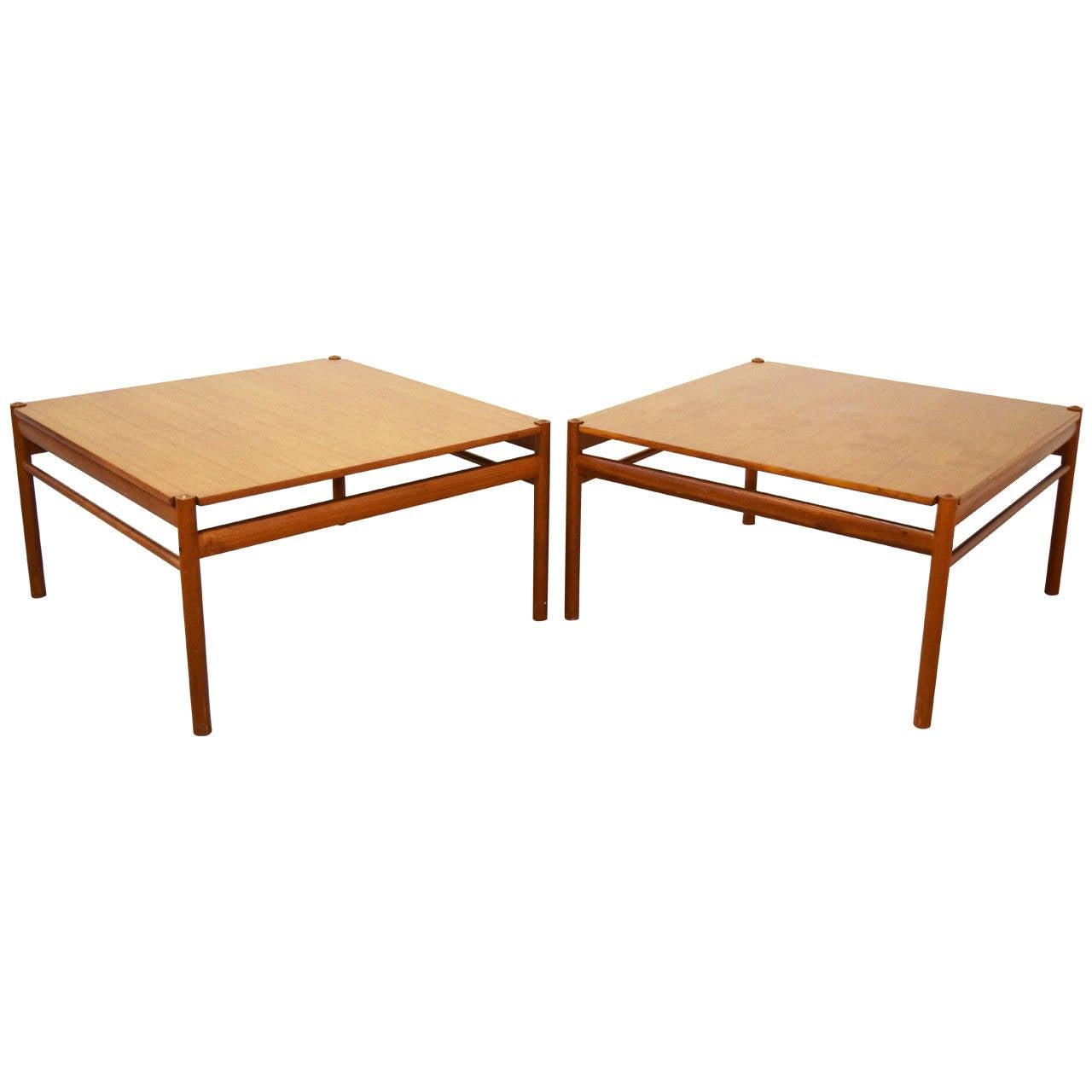 Pair of teak ole wanscher for p jeppesen side tables at for P jeppesen furniture