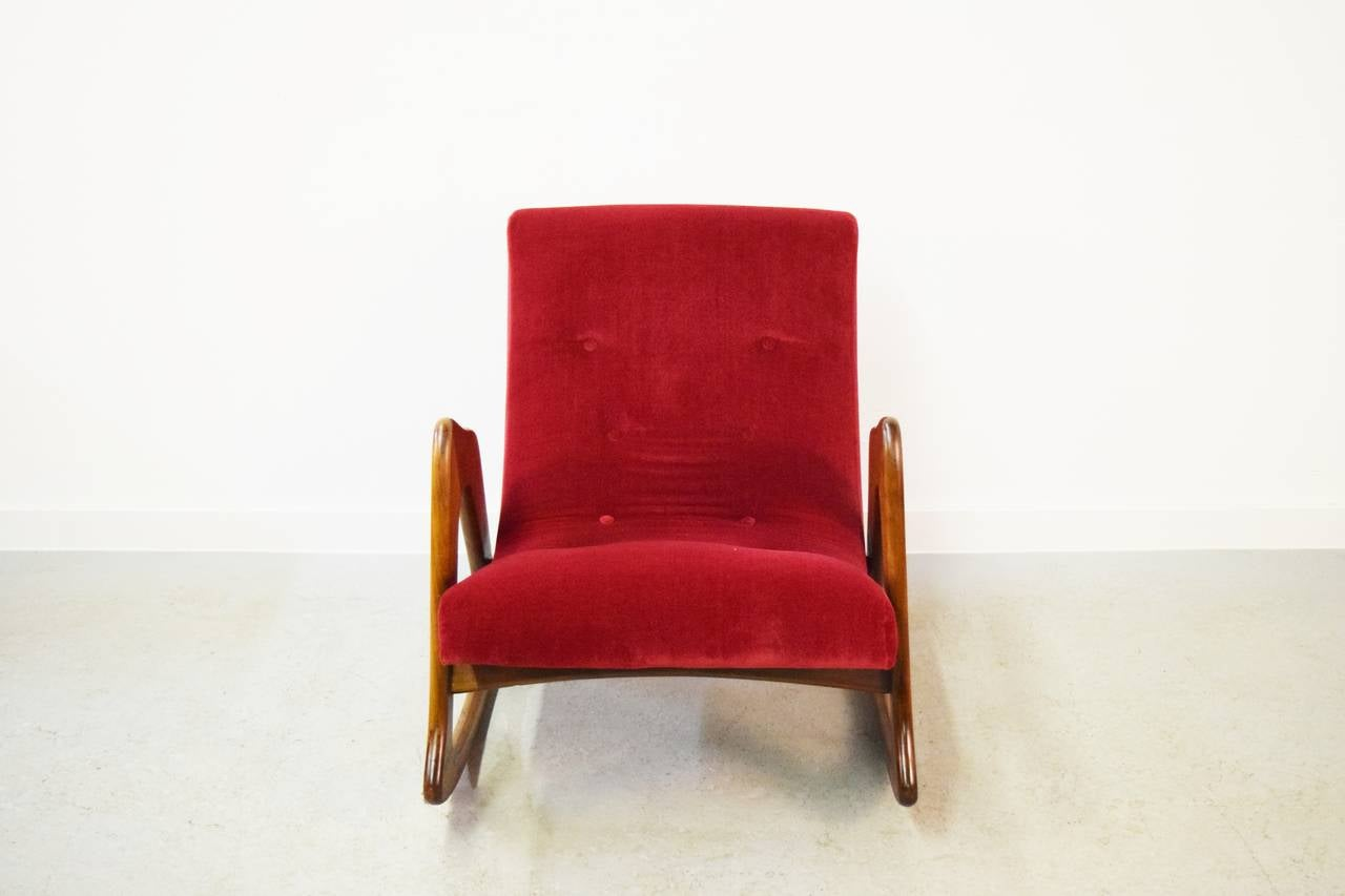 Adrian Pearsall Rocking Chair for Craft Associates In Excellent Condition In Middlesex, NJ