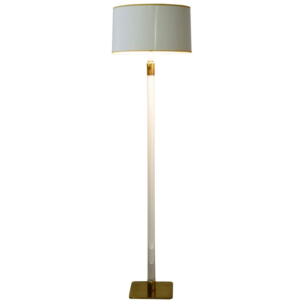 Glass and Brass Floor Lamp by Hansen