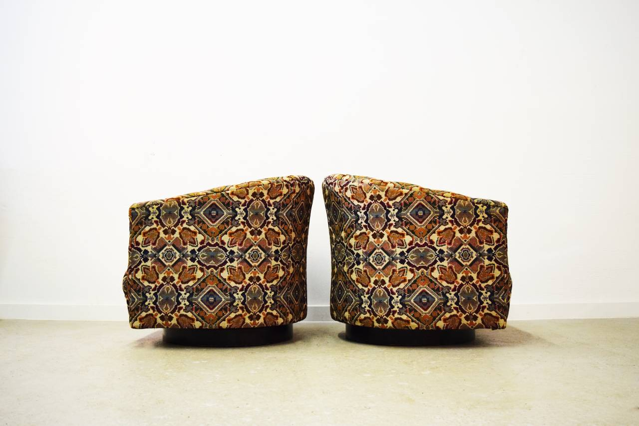 This mid century tufted club chairs is no longer available - Pair Of Mid Century Tufted Swivel Chairs 3