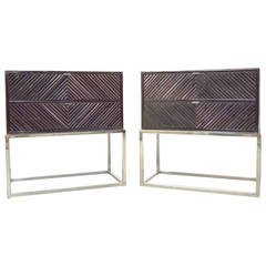Pair of Milo Baughman Bamboo and Chrome End Tables/Nightstands