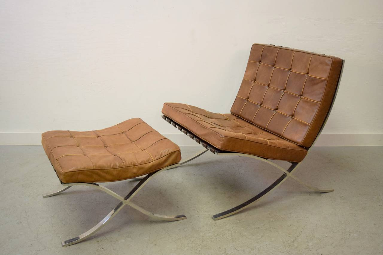 ludwig mies van der rohe barcelona chair and ottoman at 1stdibs. Black Bedroom Furniture Sets. Home Design Ideas
