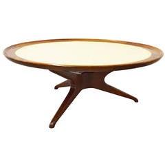 Round Mid-Century Tripod Capiz Shell Coffee Table