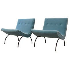 Pair of Milo Baughman Scoop Lounge Chairs in Mohair