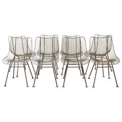 """Set of Eight Russell Woodard """"Sculptura"""" Side Chairs, Outdoor or Patio"""