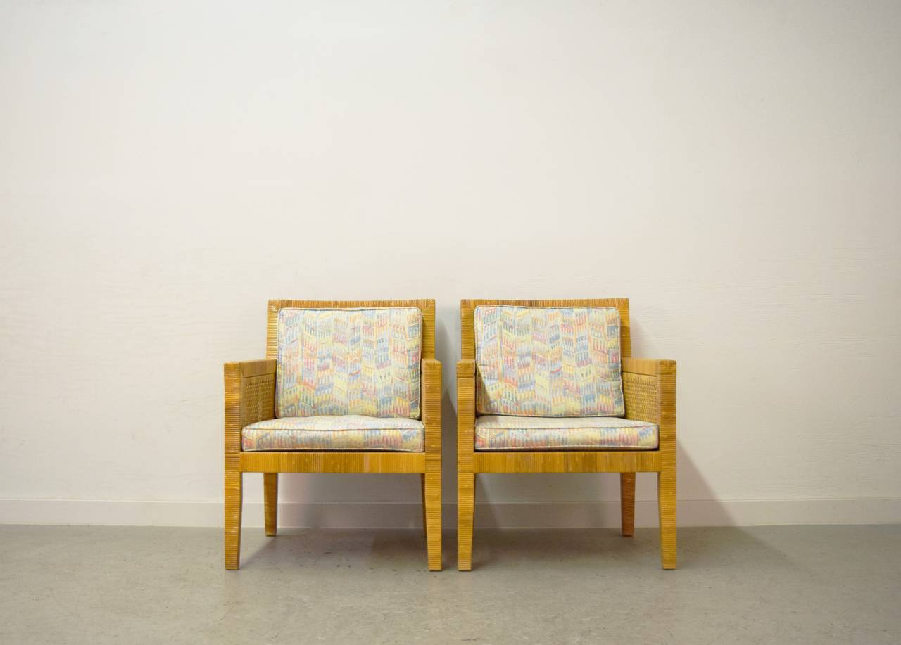 Billy Baldwin Rattan Wrapped Lounge Chairs For Sale at 1stdibs