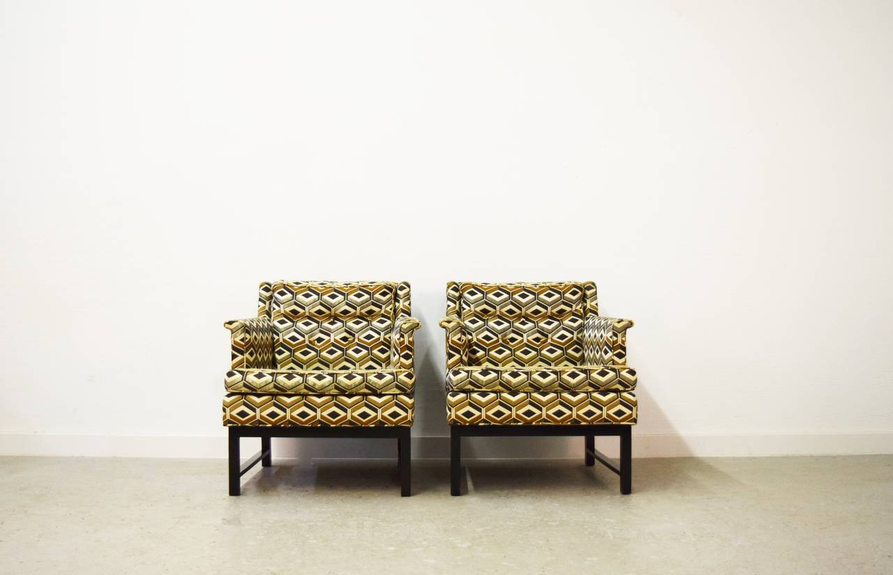 Pair of Edward Wormley for Dunbar Lounge Chairs In Good Condition For Sale In Middlesex, NJ