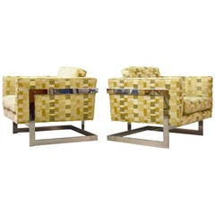 Pair of Large Milo Baughman Floating Cube Lounge Chairs