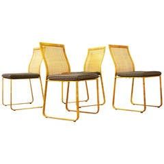 Set of Four Cane Dining Chairs by Harvey Probber