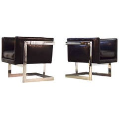 Pair of Milo Baughman Petite Cube Lounge Chairs