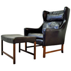 Fredrik Kayser High Back Leather Wing Chair and Ottoman