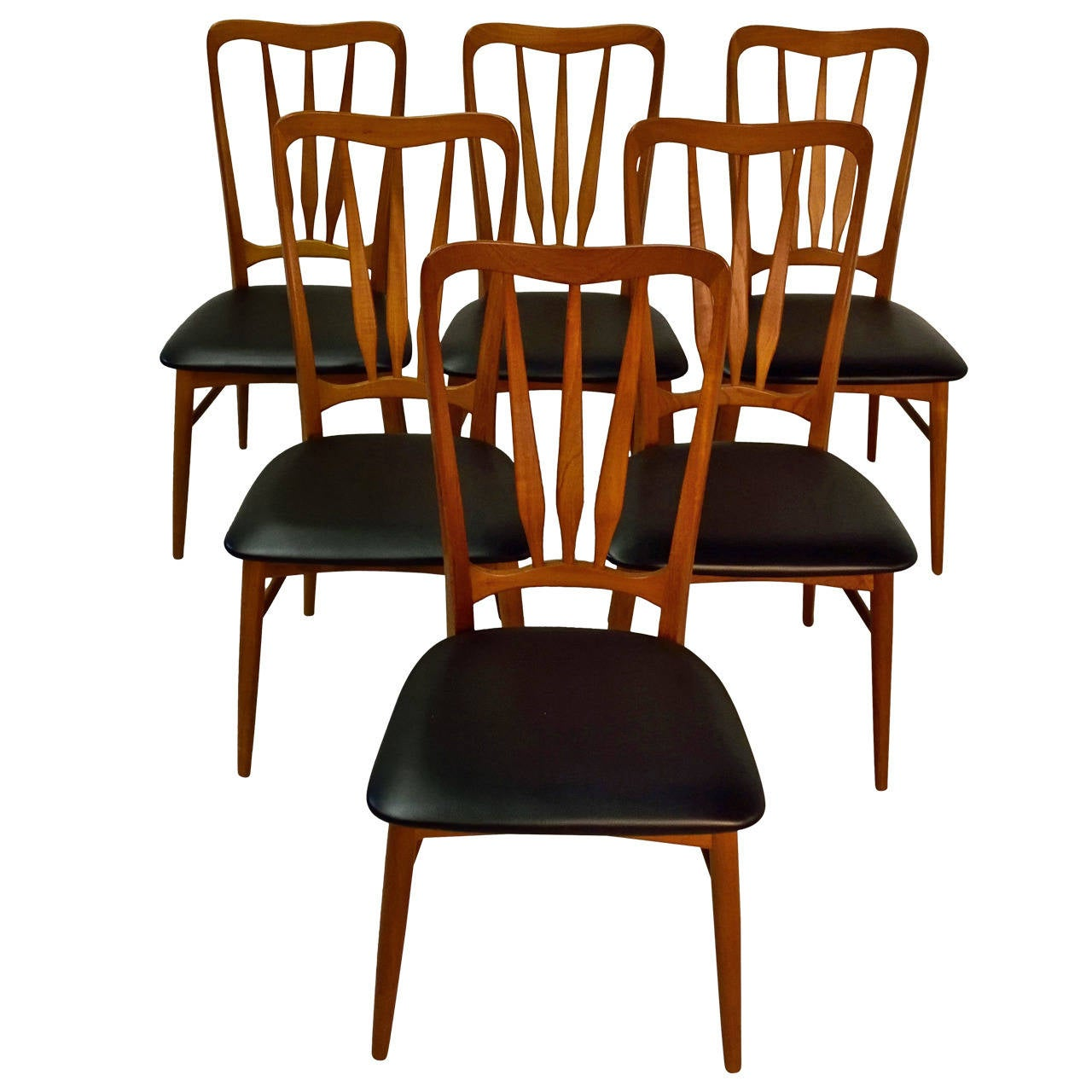 Set Of Six Koefoeds Hornslet Teak Dining Chairs For Sale