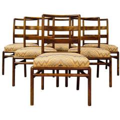 Set of Six T.H. Robsjohn-Gibbings Ladder Back Dining Chairs for Widdicomb