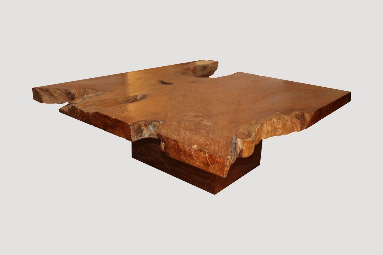 Single Slab Top Organic Teak Wood Coffee Table For Sale At 1stdibs