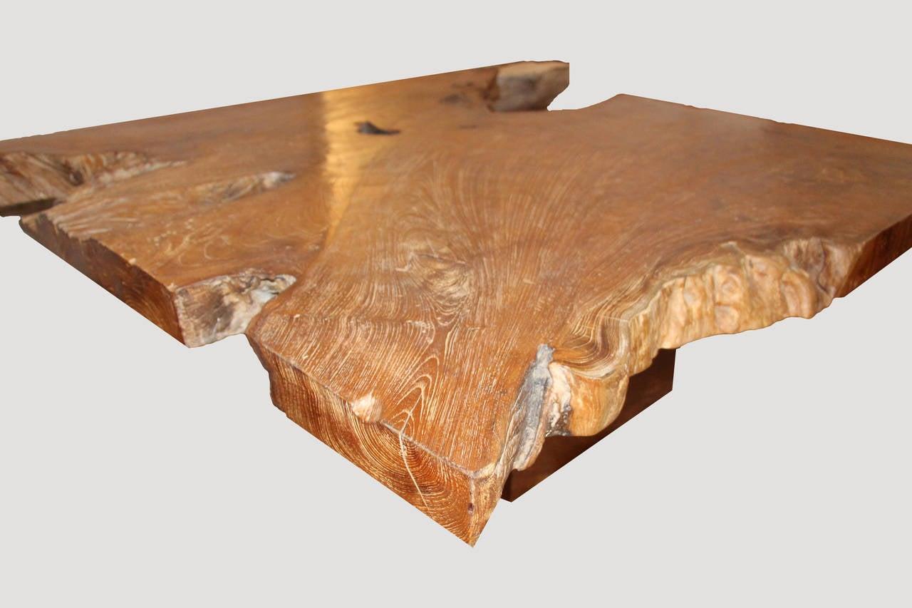 Andrianna Shamaris Single Slab Top Organic Teak Wood Coffee Table For Sale At 1stdibs